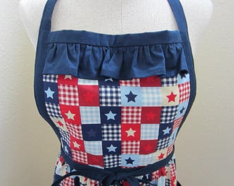 July 4 apron, red white and blue, stars and gingham, ruffled bib apron, cottage chic, 4th of July apron, patriotic holiday apron