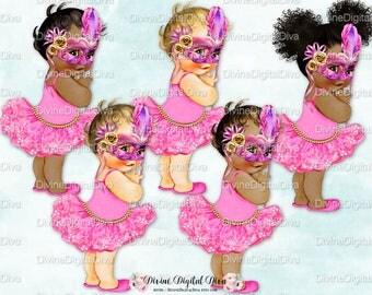Masquerade Tutu Vintage Baby Girl Sneakers Mask Feathers Pink & Gold   3 Skin Tones   Clipart Instant Download