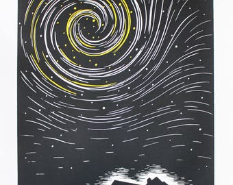Do You Ever Think About What's Out There? (yellow) - Hand Coloured Linocut