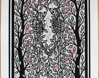 Nobody Ever Really Dies - Roses. A handmade linocut print, finished with hand carved and stamped roses.