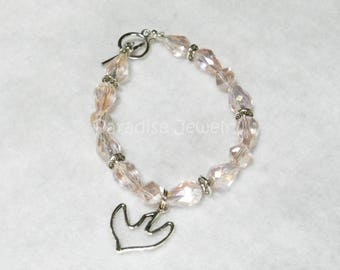 Girls Confirmation, Champagne Pink, Whimsical Swarovski Crystal Glass Bead Bracelet With Holy Spirit, Dove Charm, Catholic Confirmation Gift