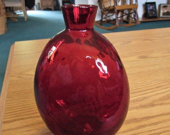 Vintage Glass Flask - Ruby Red