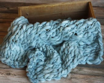 Blue Merino Cloud Layer, Mini Blanket, Wrap,  Photography Prop