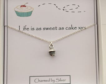 Sterling Silver cupcake Charm Necklace - a perfect gift for a baker, cake maker, bake off lover