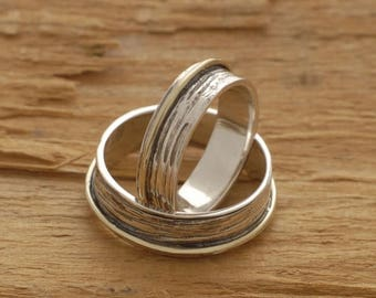 15%OFF-Ships on Sept15 Rustic Sterling Silver and Gold Wedding Bands, His and Her Promise Ring Set, Custom Matching Wedding Bands, be37