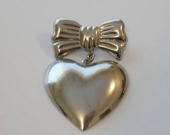 Articulated Heart Pin. Dangle Heart Brooch. Heart Jewelry.