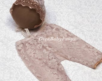 Newborn girl photo outfit photo props lace pants and bonnet set cappuccino baby girl photo outfit lace outfit  props newborn photography