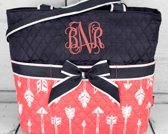 Monogrammed Diaper Bag, Monogrammed Diaper Bag, Arrow Baby Theme, Monogram Baby Shower Gift, Personalized Bag, Straight and Arrow Diaper Bag