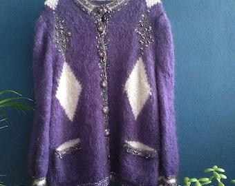 Purple, vintage mohair vest.