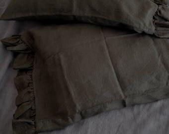 Black Linen Shams with Ruffles/ Ruffle Sham/Linen Sham/Sham/ Ruffles/Softened Linen /Natural Linen