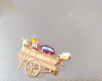 French antique  Solid bronze gold plated  Flower cart light sappire blue orange white moon stone crystal brooch art deco brooch