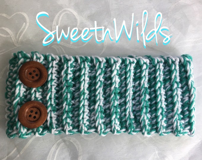 Big Chunky Crocheted Headband-Earwarmer-READY TO SHIP-Green and White Headband-Winter Accessories