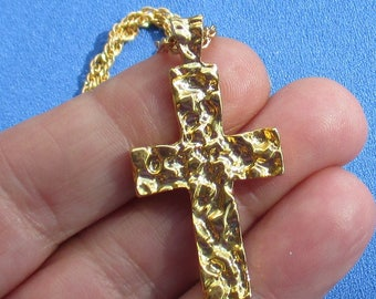 Vintage Cross Textured Pendant Necklace Marked Korea