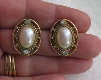 Vintage Faux Pearl Rhinestone Oval Shaped Pierced Earrings TLC
