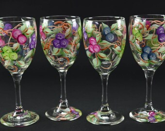 Set of  Four Hand Painted Wine Glasses / Colorful Grape Clusters