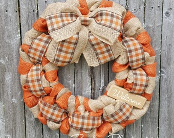 Fall Wreath, Autumn Wreath, Thanksgiving Wreath, Burlap Wreath, Autumn Burlap Wreath, Orange Fall Wreath