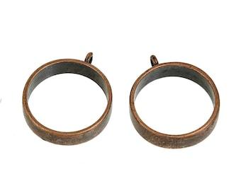 "2 Open Back Bezel, Pendants, For Resin, Round Antique Copper 32 x 27 MM 1 1/4 x "" 1 1/8"""