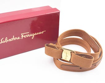 Salvatore Ferragamo Bow Ribbon Brown Belt