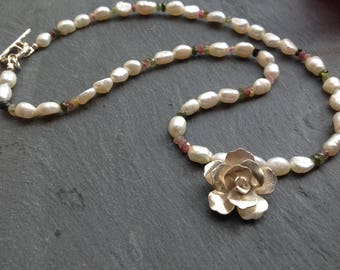 Karen Hill Tribe rose pendant necklace, ivory rice pearls, tourmaline gemstone beads, Sterling silver, bridal jewellery, bride, gift for her