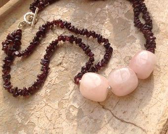 Rose Quartz, garnet, gemstone, Karen Hill Tribe silver, Sterling silver, multi-stranded necklace, January birthstone, gift for her