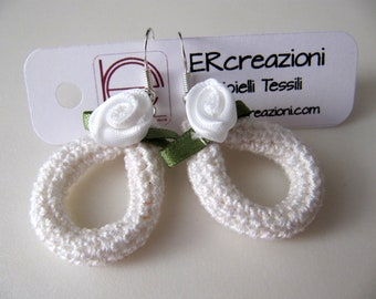 Cotton earrings, handmade crochet