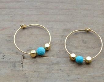 Gold Hoop Earrings, Turquoise And Gold Earrings, Small Hoop Earrings, Turquoise Hoops, Summer Earrings, Birthday Gift, Christmas Gift