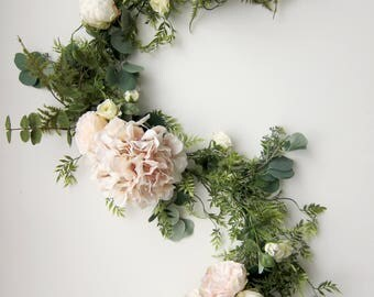 Floral Garland - Bridal Shower Backdrop - Boho Romance Wedding Garland - Eucalyptus Garland - Garland Greenery - Floral Backdrop