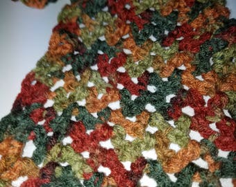 Scarf Earth tones acrylic crocheted 52 x 7 inches