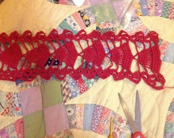 Scarf red cotton crocheted,34x5.5 inches handmade