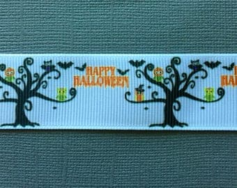 SALE!!! HAPPY HALLOWEEN Craft Ribbon Featuring Bats and Owls in Black Trees - 3 Yards