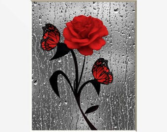 Red Bathroom Decor, Red Rose Butterflies, Red Gray Modern Home Decor Matted  Picture