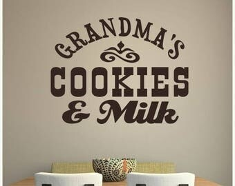 EVERYTHING IS 20% OFF Grandma's Cookies and Milk Wall Decal