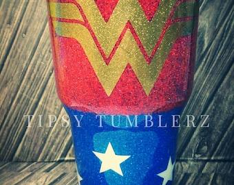 Wonder Woman glitter stainless steel tumbler cup wonder woman Ozark wonder woman yeti wonder woman rtic glitter tumbler wonder woman cup