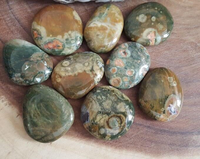 Small Rainforest Jasper (Rhyolite) Palm Stone, Chakra Stone, Worry Stone, Fidget Stone ~ 1 Reiki infused polished flat stone approx 1.5 in