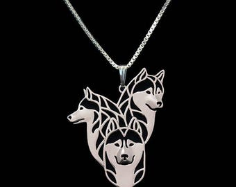 Siberian Dogs Necklace, Siberian Husky Head Necklace, 3D Hollow, Animal Lover Pendant, Memorial Necklaces, Dog Choker, Christmas, UK Store