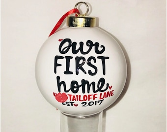 First time Home Owner ornament Home Owner Gift- New Home- Real Estate- House Warming Gift- Hello new home- Home owner ornament