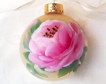 Cabbage Rose Ornament ~ OOAK gift ~ Shabby Rose Ornament ~ Ready to Ship ~ Handpainted Roses