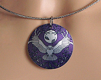 Owl pendant on flexible choker. Purple silver necklace, handmade jewellery, owl gifts. Gifts for women. PL436