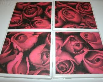 Valentine Roses Tile Coasters, Holiday Decor, Home Decoration, Kitchen Table Coasters, Office Decor, Living-room Decor, Dorm, 4 pc set