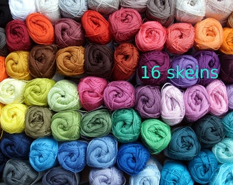 Cotton yarn 16 skeins * Catania * 800 gram in total * quality crochet yarn * each 50 gram * free colorchoice * 85 colors, smc schachenmayr