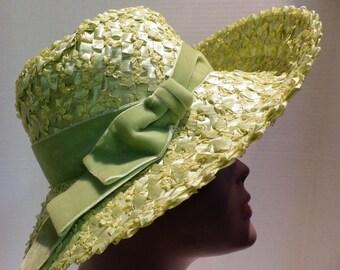 1960s Vintage Raffia Straw Hat Green Wide Brim Velvet Bow