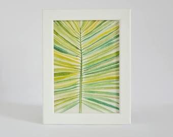 Tropical Palm Leaf - Watercolor Palm Leaf Art Print - Art Print on Handmade Paper - Palm Leaf - Tropical Art