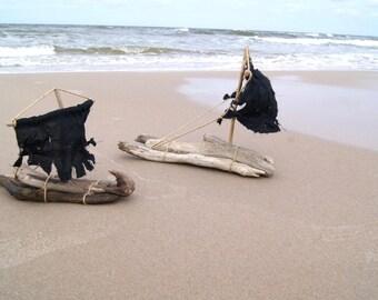 Pirate Driftwood Raft! Nautical Art Driftwood Art, Spectacular Boat Decor, Beach Decor, Castaway Sailboat Gift, Amazing Gift for Sailor!