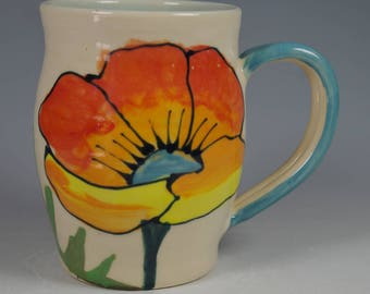 Porcelain Honey Bee Poppy Mug Turquoise handle Holds 2+ cups 18 ozs. microwave dishwasher oven safe no lead