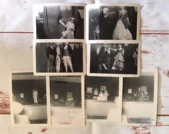 Lot of 8 Black and White Photos of College Play Theater Show All Girl Cast 1950s