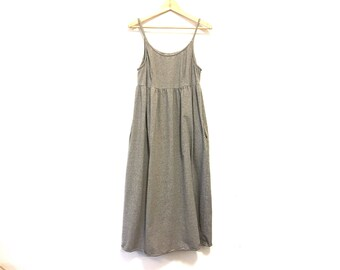 1990s Vintage Cotton Striped Dress / Spaghetti Strap Maxi Dress with Pockets