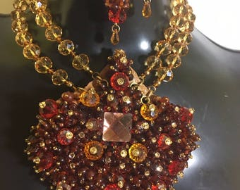 Orange, Red and Brown Regalia Necklace Sample Sale