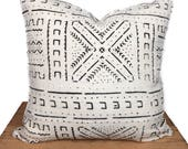 Mudcloth Pillow Cover, African Mud Cloth, Authentic Mud Cloth Pillow | Black and White | 'LUCY'