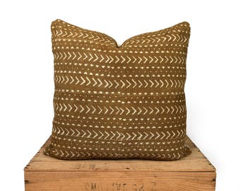 Elliott Mudcloth Pillow Tan/ Brown Authentic Mud Cloth Pillow Cover 18""