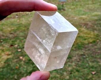 Pale Pink OPTIC CALCITE Viking Sunstone Iceland Spar - Rhombic Optical Calcite -  Crystal Gemstone Oddity - Vinland & Scandinavia - History